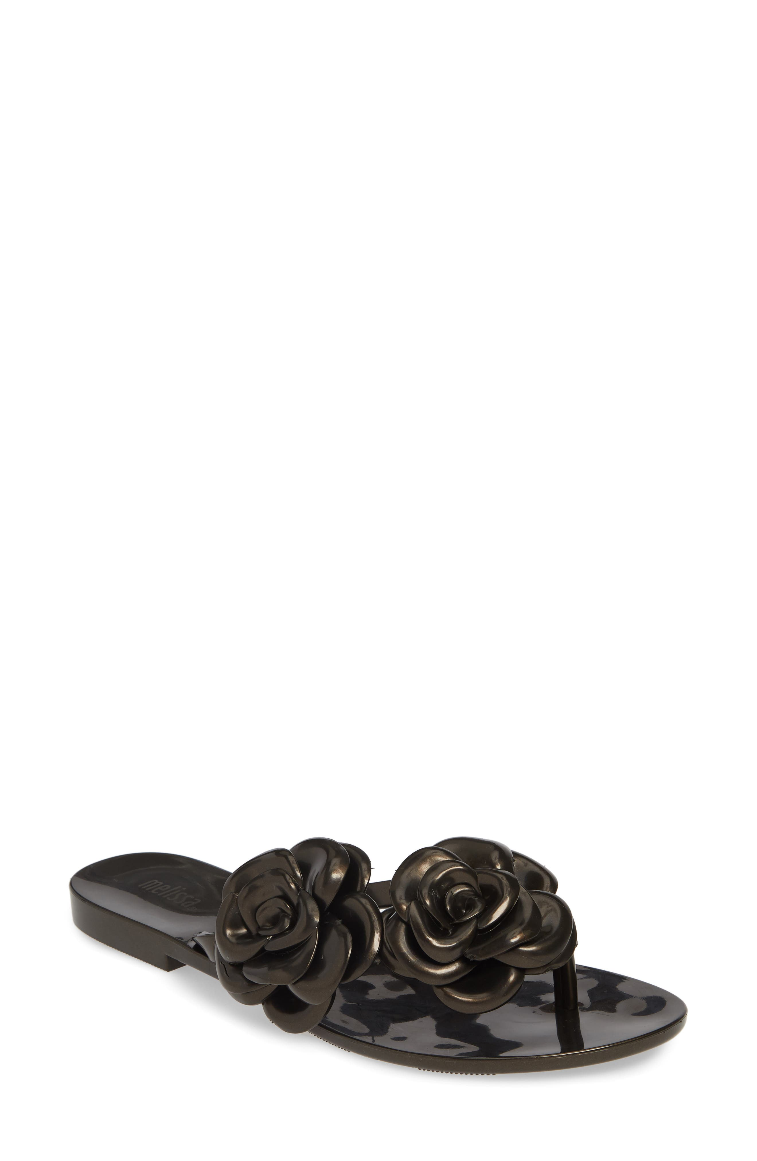 Melissa Harmonic Flower Flip Flop, Black
