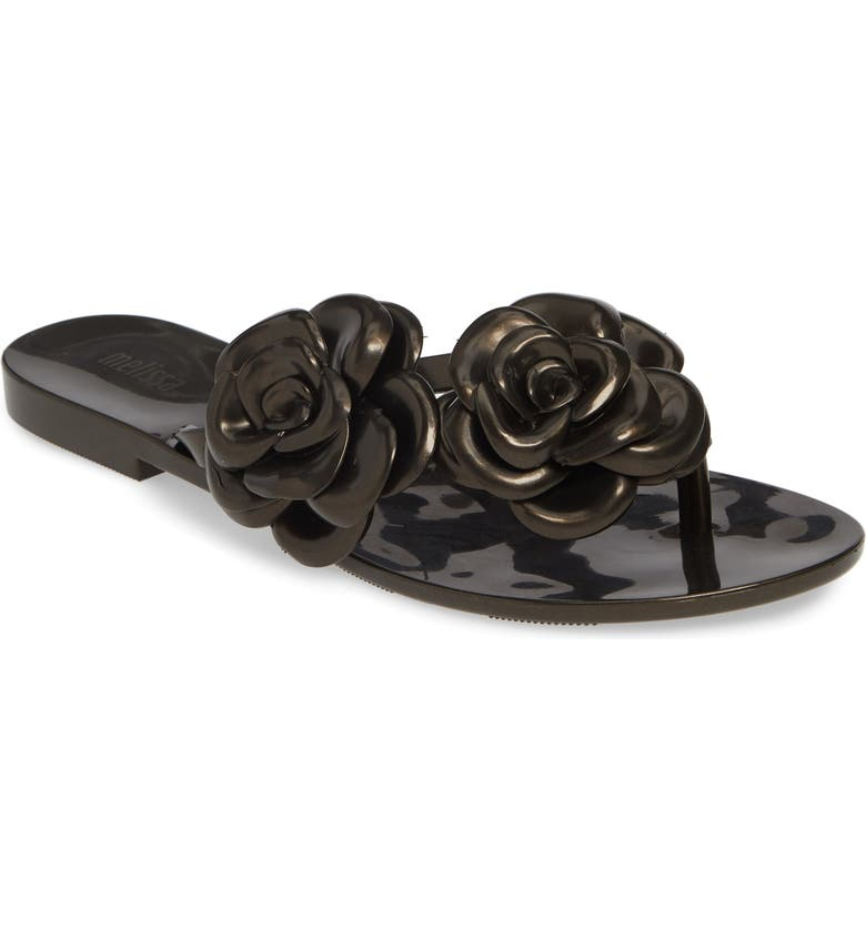 MELISSA Harmonic Flower Flip Flop, Main, color, BLACK RUBBER