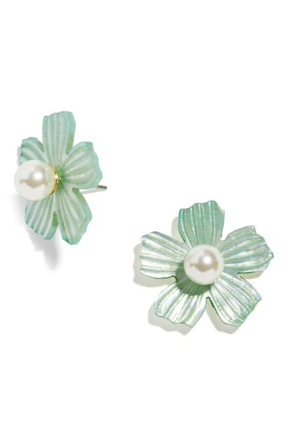 Image of BAUBLEBAR Mother-of-Pearl & Imitation Pearl Flower Stud Earrings