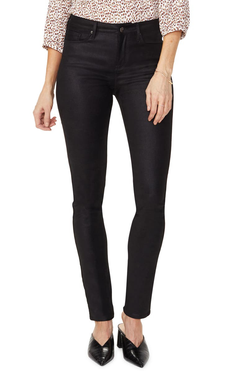 NYDJ Alina Faux Suede Skinny Pants, Main, color, BLACK