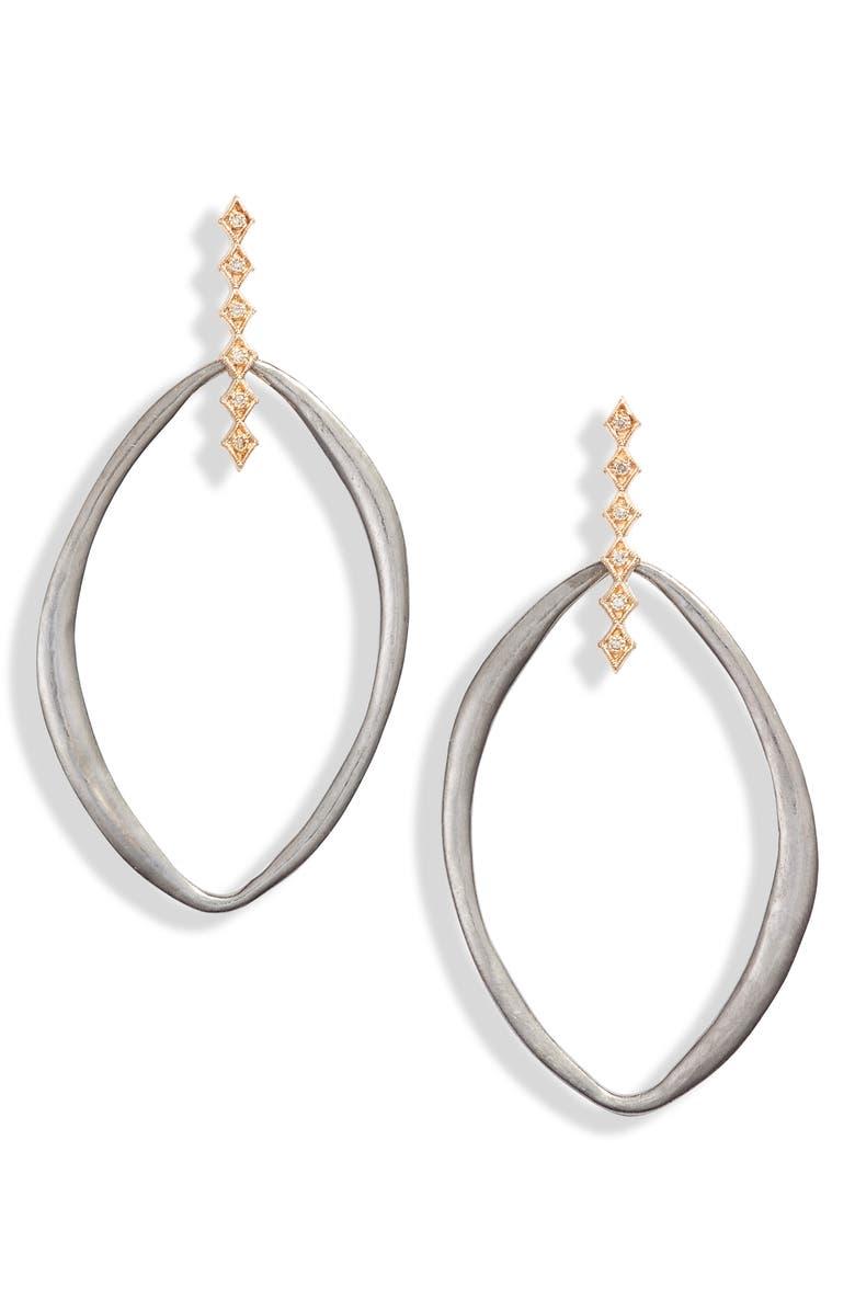 ARMENTA New World Crivelli Diamond Hoop Earrings, Main, color, GOLD/ SILVER