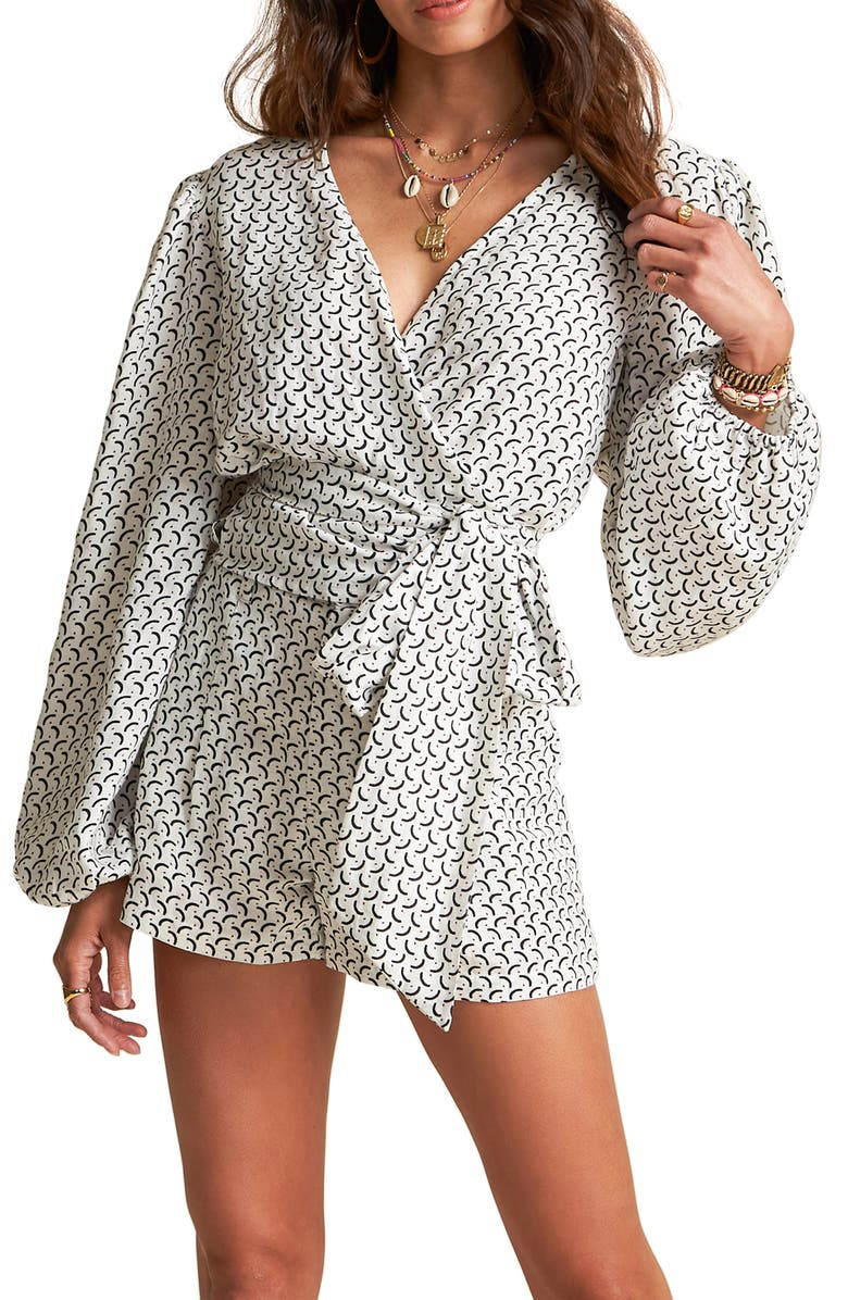 BILLABONG x Sincerely Jules Wrapped in Love Linen Blend Long Sleeve Blouse, Main, color, COOL WIP