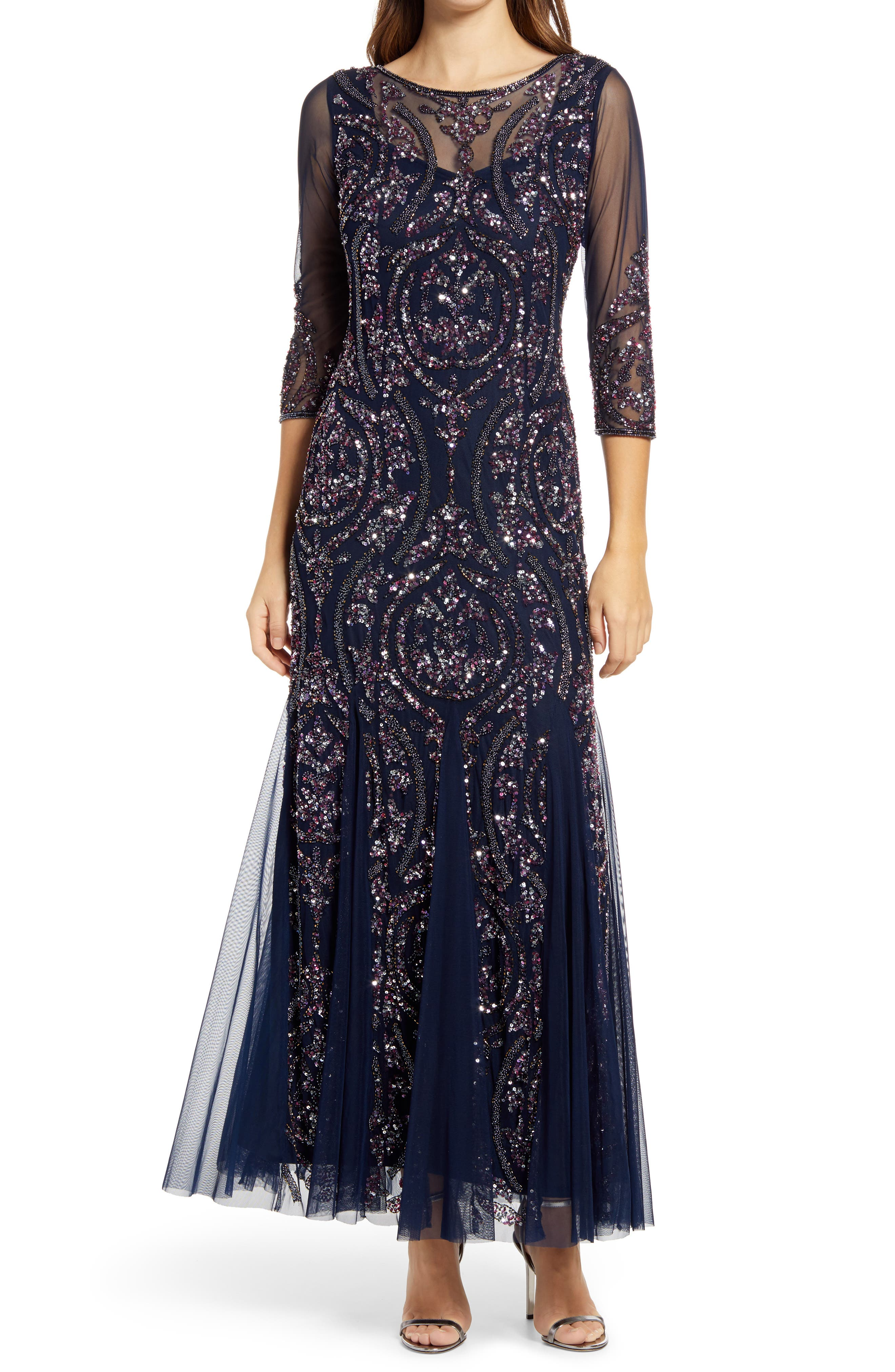 1920s Style Dresses, 20s Dresses Womens Pisarro Nights Sequin Beaded Illusion Gown Size 12 - Blue $124.00 AT vintagedancer.com