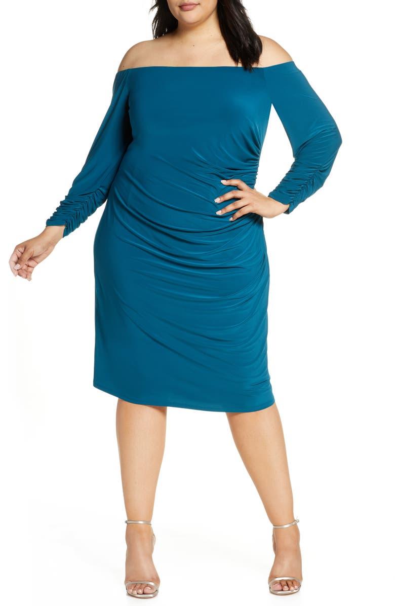 ELIZA J Off the Shoulder Long Sleeve Ruched Dress, Main, color, PEACOCK