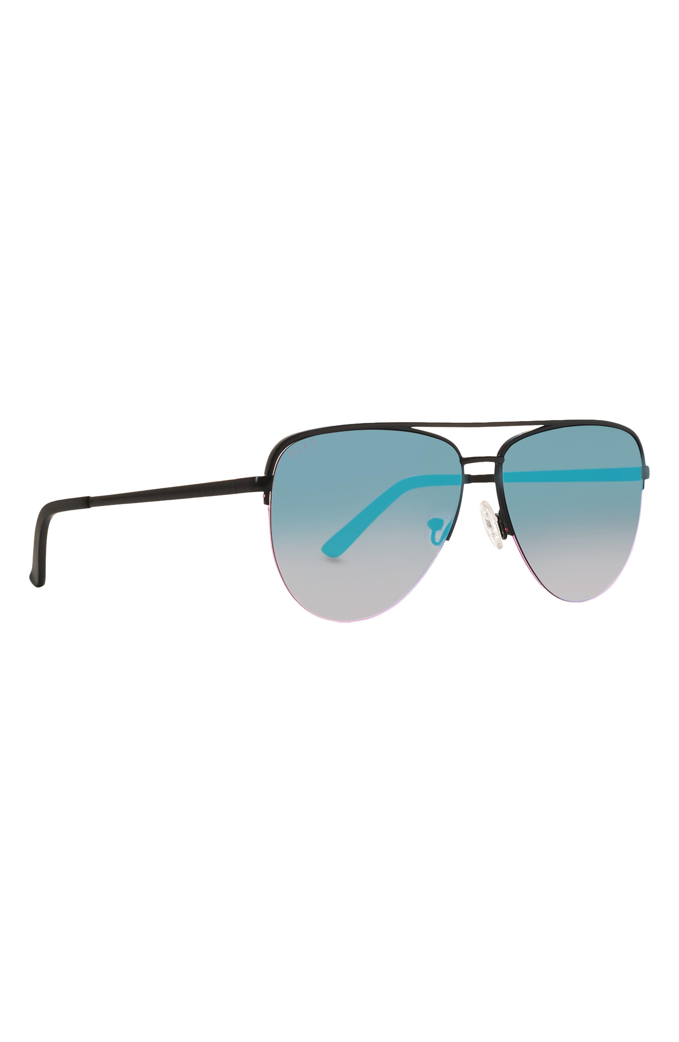 Tate 59mm Gradient Mirrored Semi Rimless Aviator Sunglasses