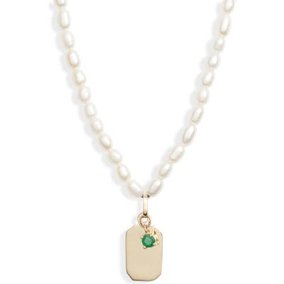 Loren Stewart Id Tag Pearl Necklace