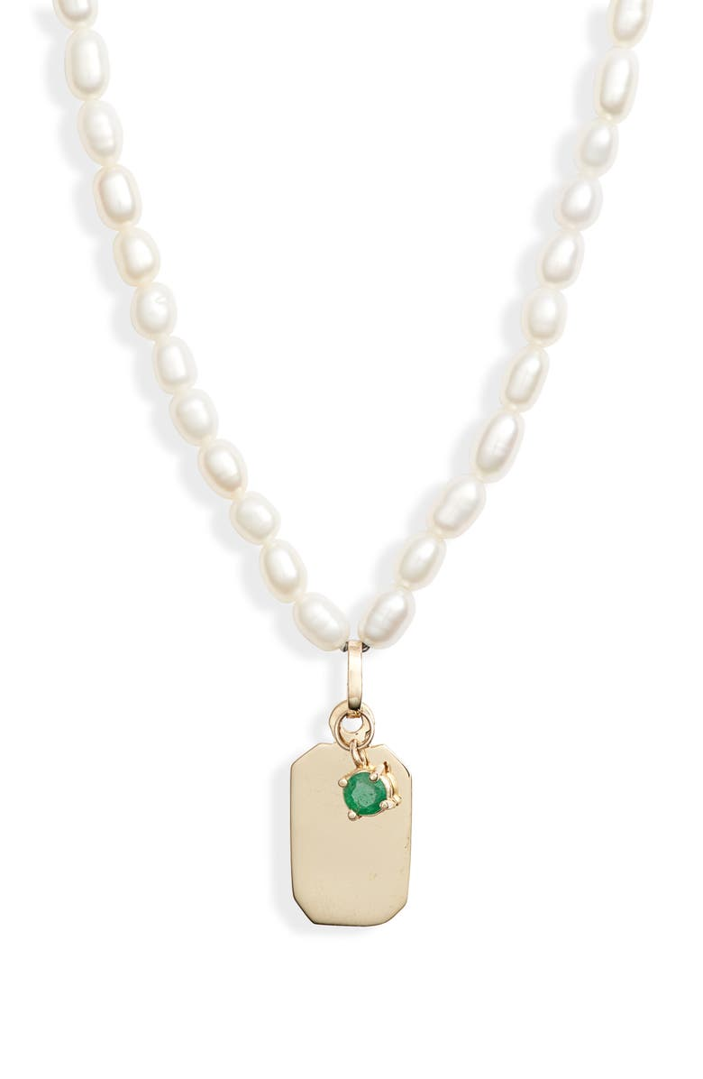 LOREN STEWART ID Tag Pearl Necklace, Main, color, GOLD/ PEARL