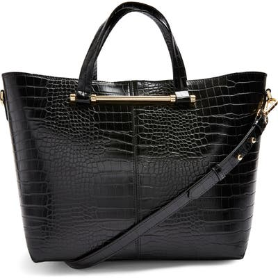 Topshop Taz Croc Embossed Faux Leather Tote - Black