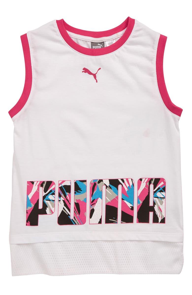 PUMA Fashion Mesh Trim Jersey Top, Main, color, 100