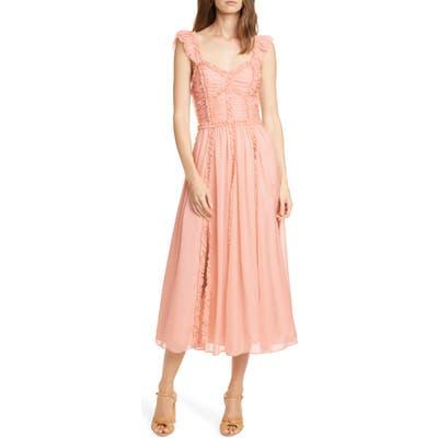 Ulla Johnson Florence Ruffle Trim Silk Midi Dress, Pink