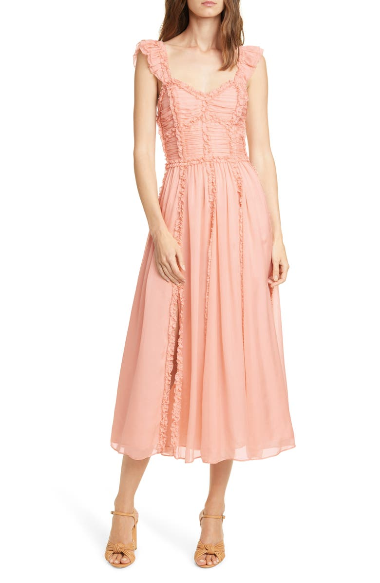 ULLA JOHNSON Florence Ruffle Trim Silk Midi Dress, Main, color, BLUSH