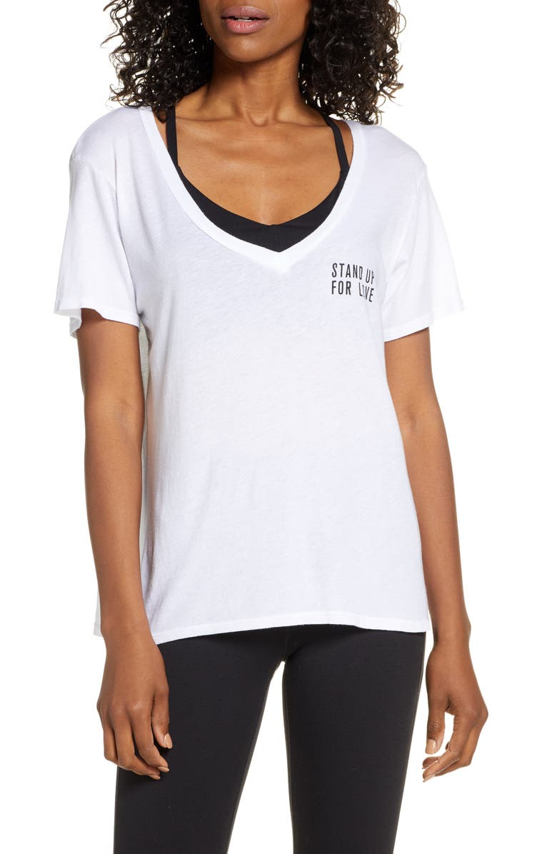 GOOD HYOUMAN Aiden Stand Up V-Neck Tee, Main, color, OPTIC WHITE