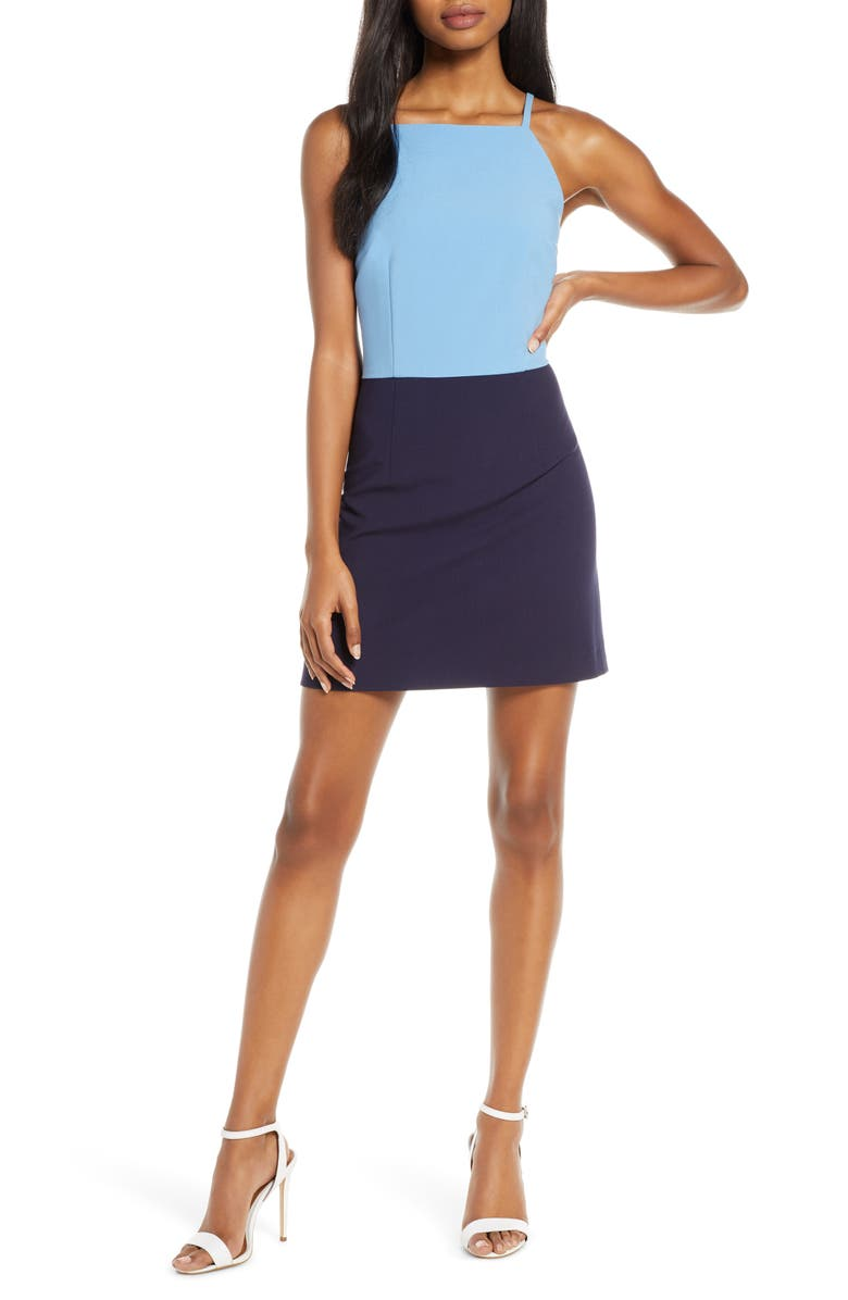 FRENCH CONNECTION Whisper Colorblock Minidress, Main, color, 400