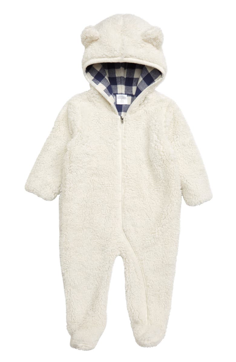 NORDSTROM BABY Faux Fur Hooded Footie, Main, color, IVORY EGRET