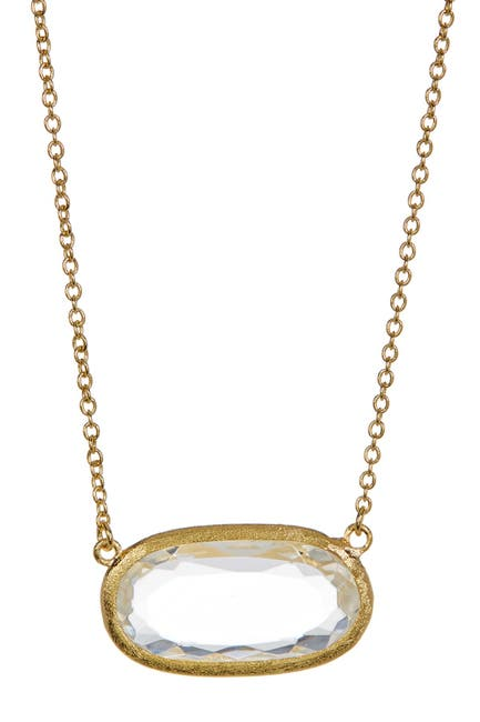 Image of Rivka Friedman 18K Gold Clad Faceted Rock Crystal Oval Pendant Necklace