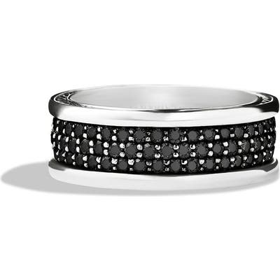 David Yurman Streamline Pave Three Row Band In Sterling Silver With Black Diamonds