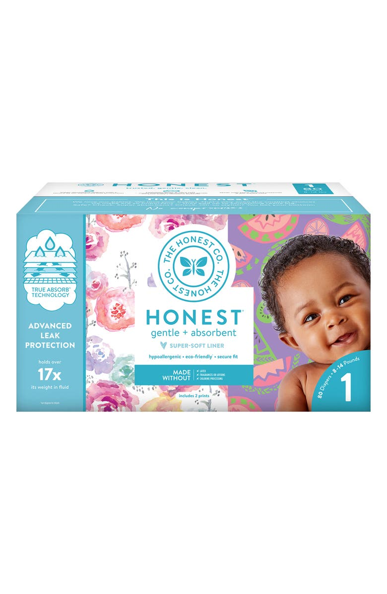 THE HONEST COMPANY Rose Blossom/Sliced Fruit Size 1 Club Box Diapers, Main, color, ROSE BLOSSOM/ SLICED FRUIT