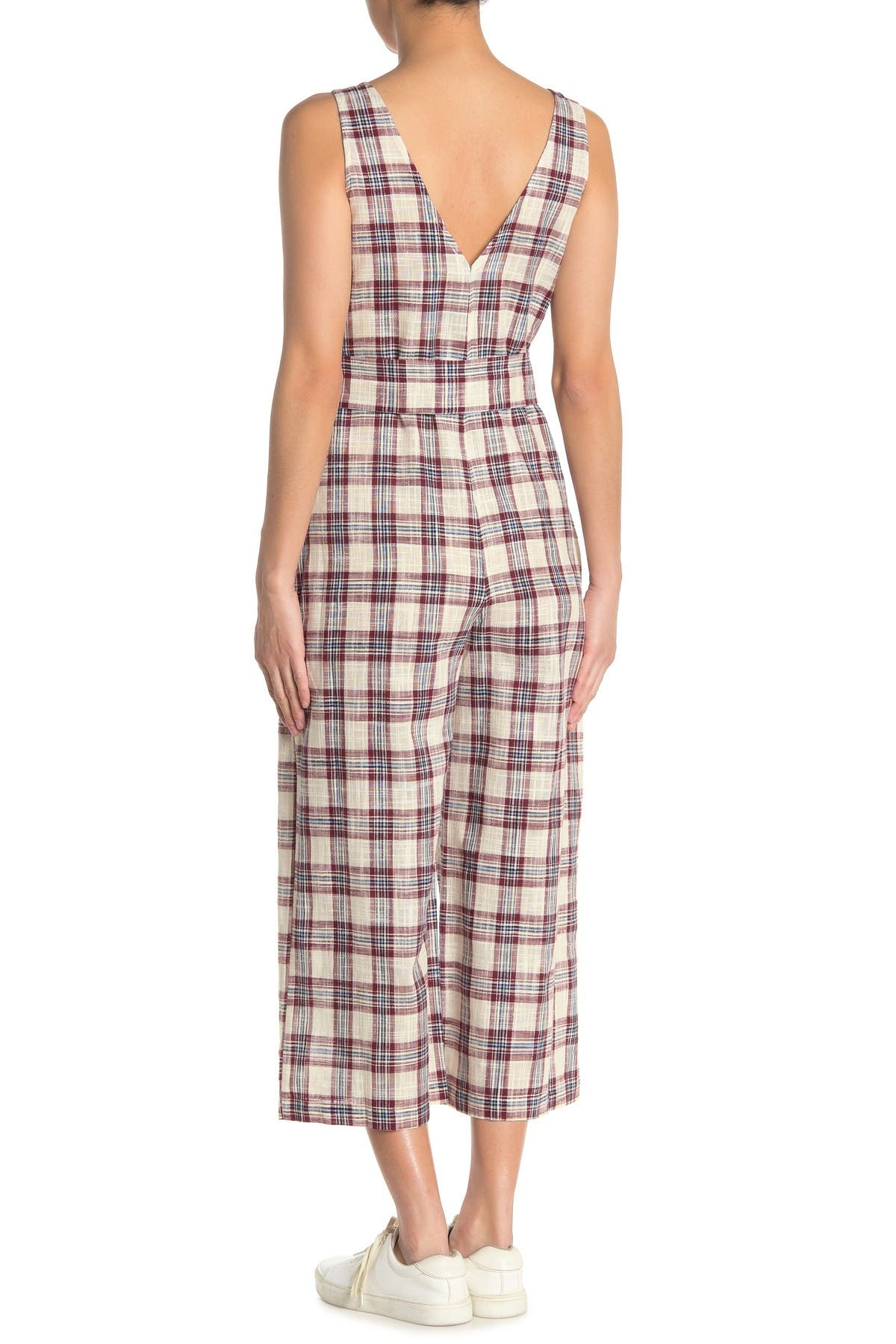 Image of Moon River Plaid Belted Sleeveless Crop Jumpsuit