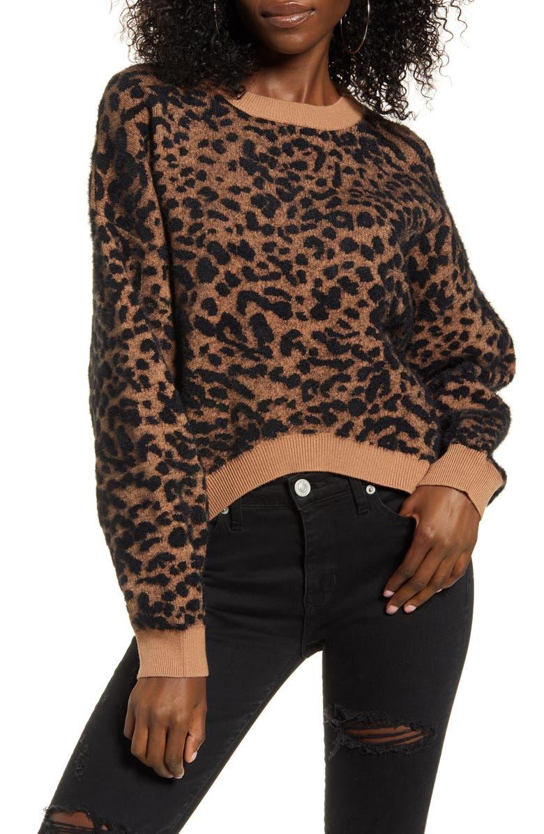 J.O.A. Leopard Print Sweater, Main, color, 250