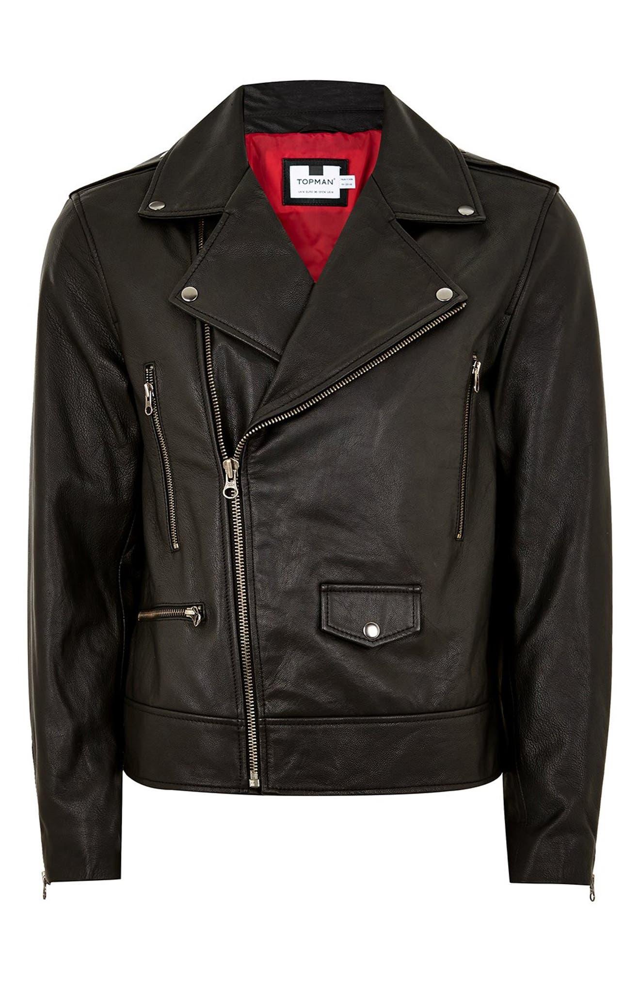 ,                             Classic Fit Leather Biker Jacket,                             Alternate thumbnail 5, color,                             BLACK