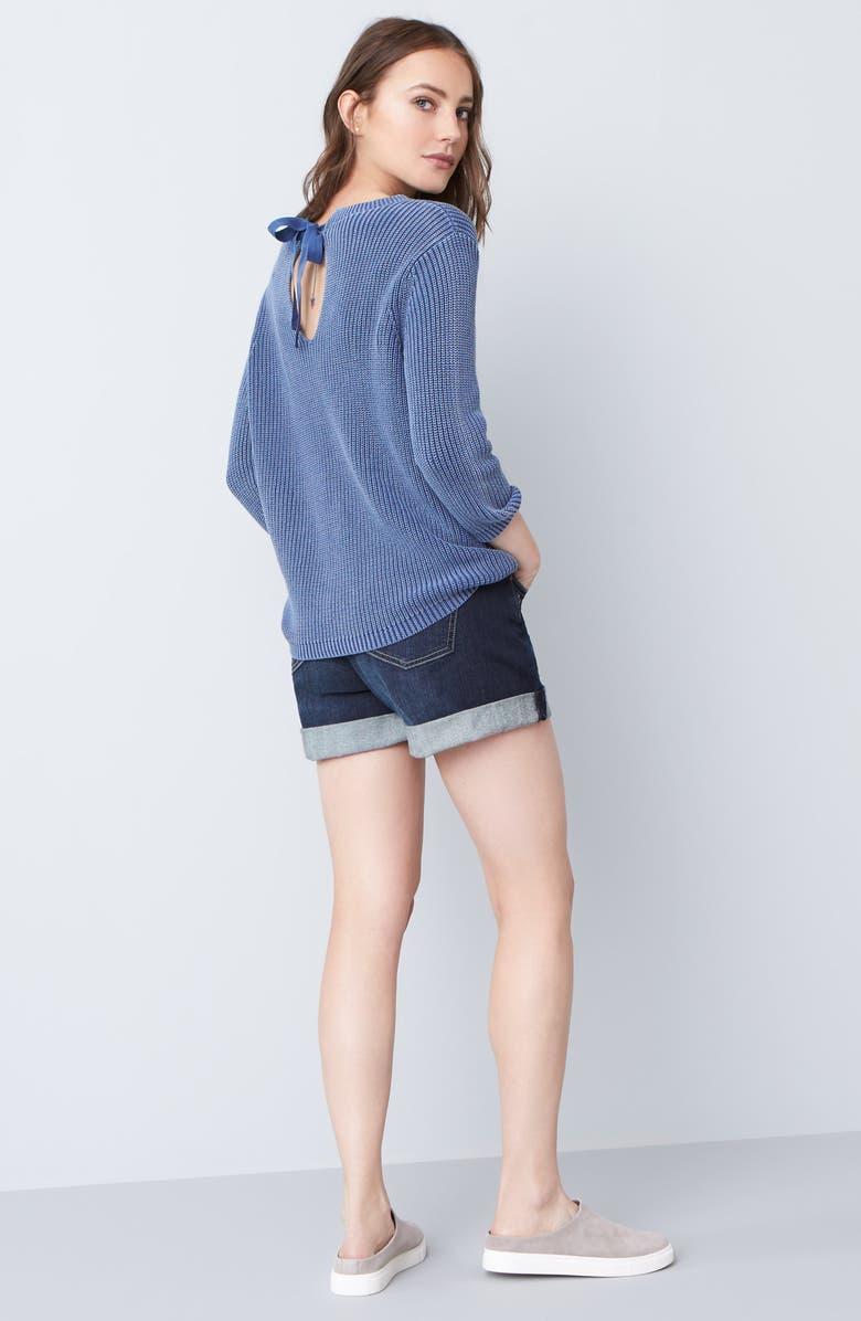 CASLON<SUP>®</SUP> Denim Boyfriend Shorts, Main, color, 401
