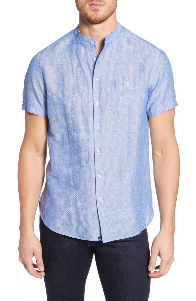 STONE ROSE Regular Fit Banded Linen Blend Shirt, Main, color, BLUE