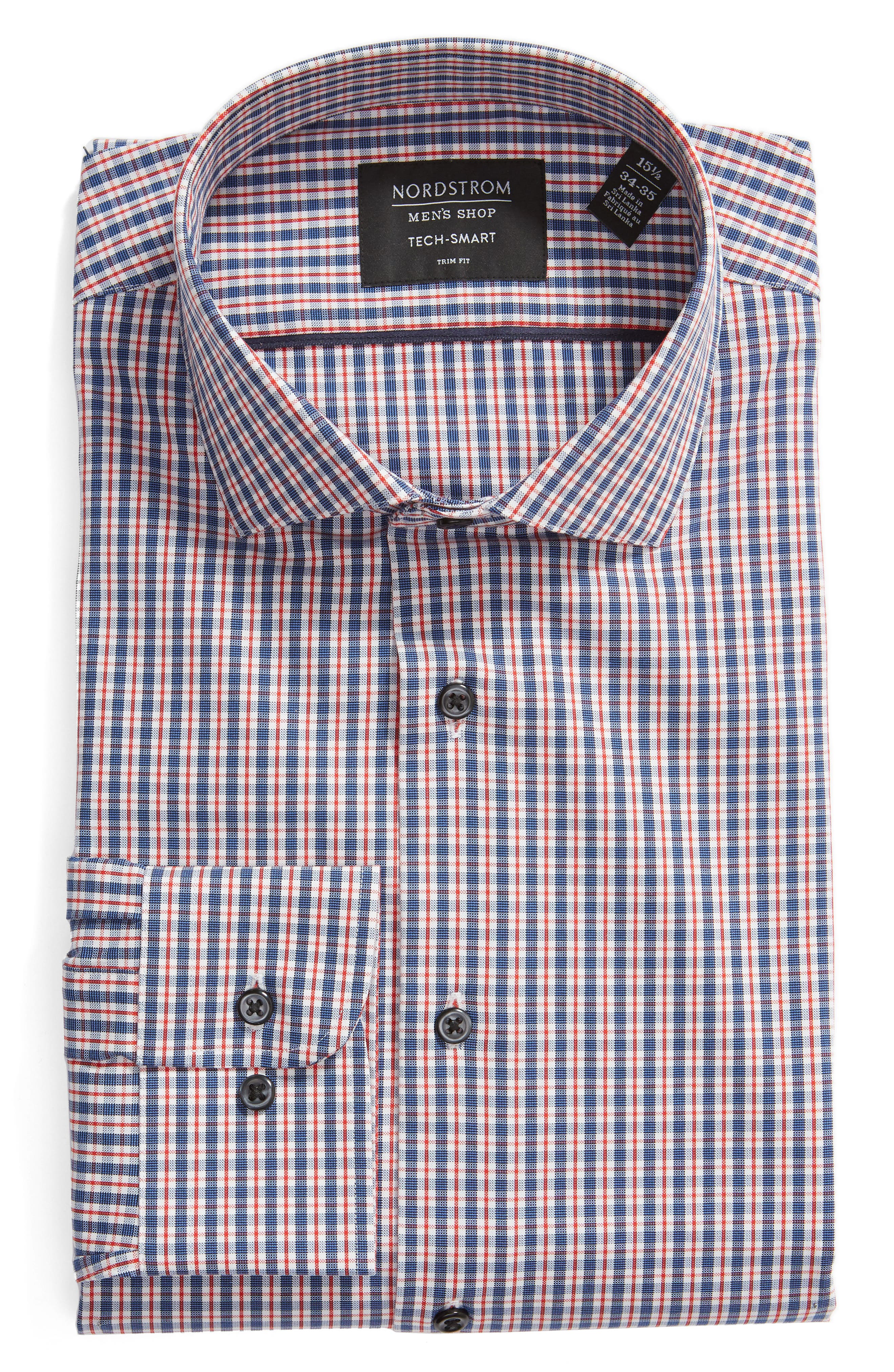 ,                             Tech-Smart Trim Fit Stretch Check Dress Shirt,                             Alternate thumbnail 5, color,                             RED RIBBON