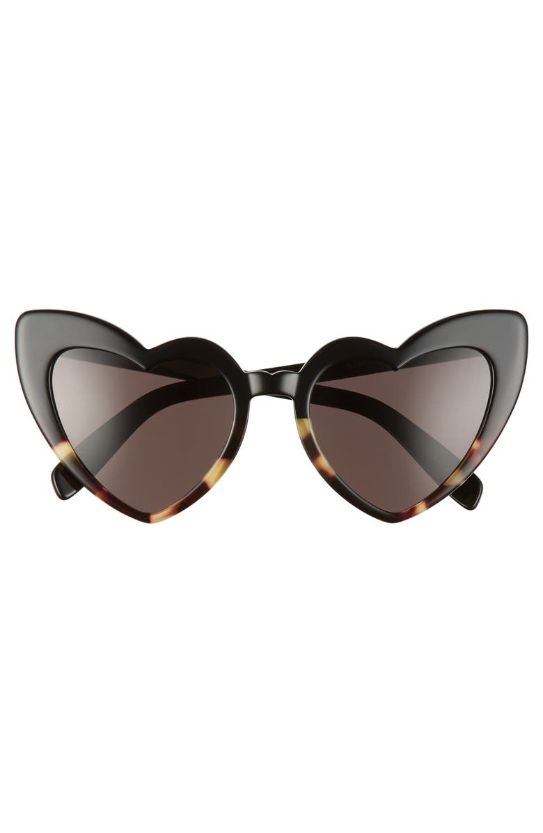 SAINT LAURENT Loulou 54mm Heart Sunglasses, Main, color, BLACK HAVANA/ BLACK