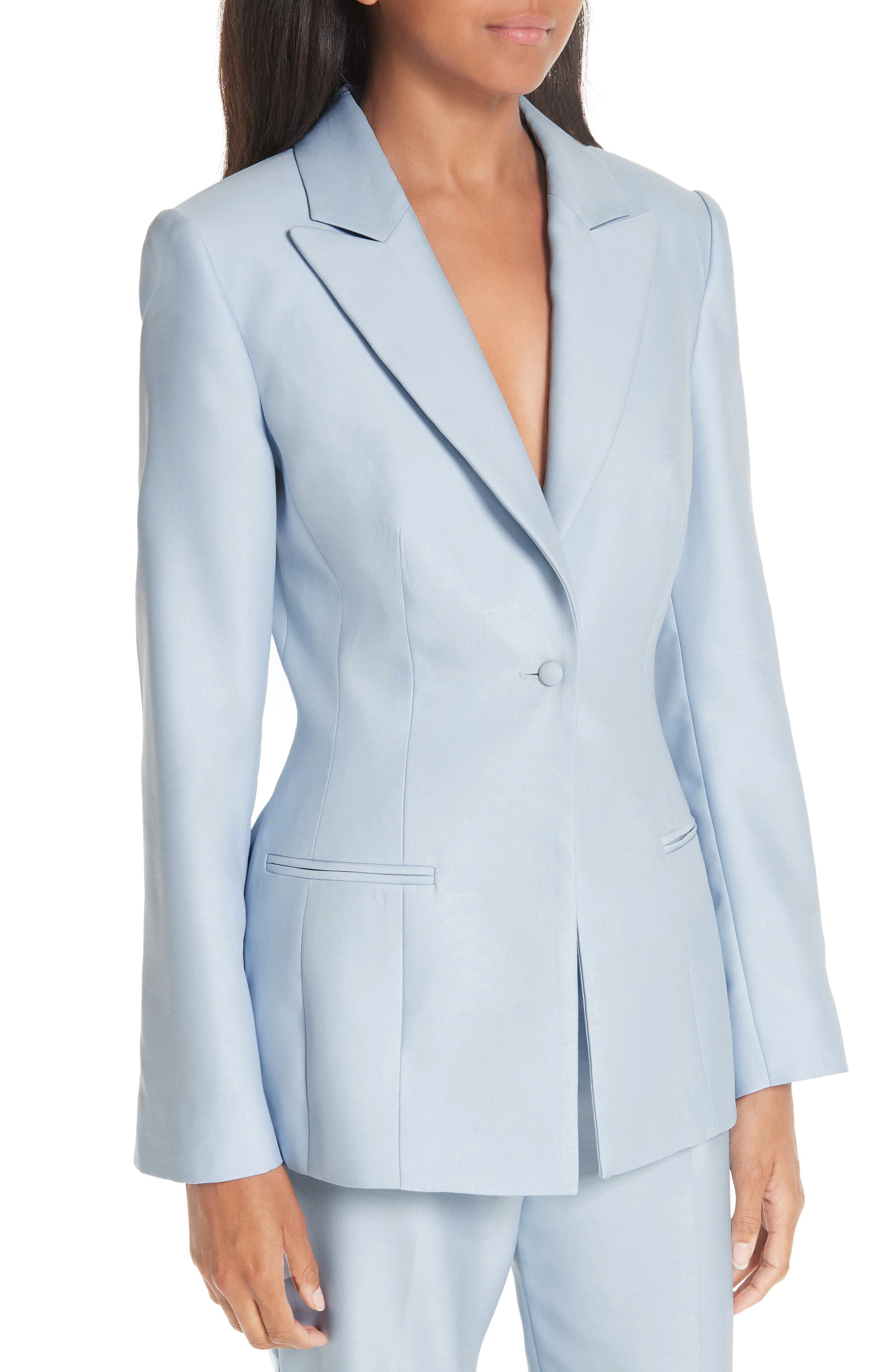 ,                             One-Button Wool & Silk Jacket,                             Alternate thumbnail 4, color,                             PALE BLUE