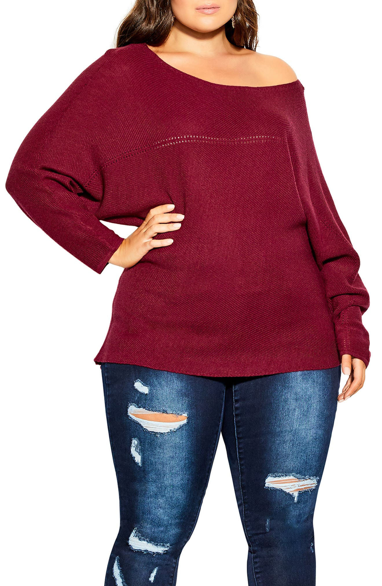 Romance Oversize Off The Shoulder Sweater