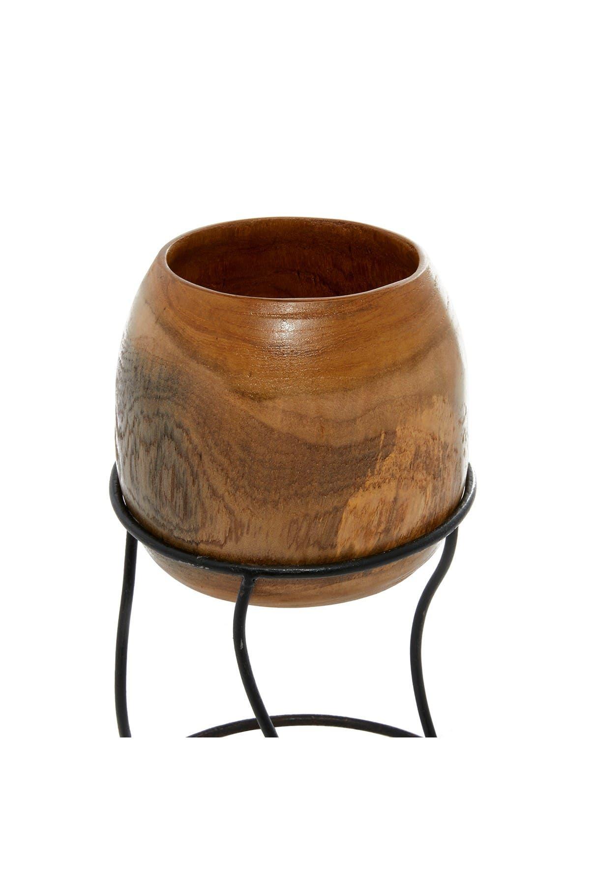 Image of Willow Row Brown Teak Wood Rustic Vase