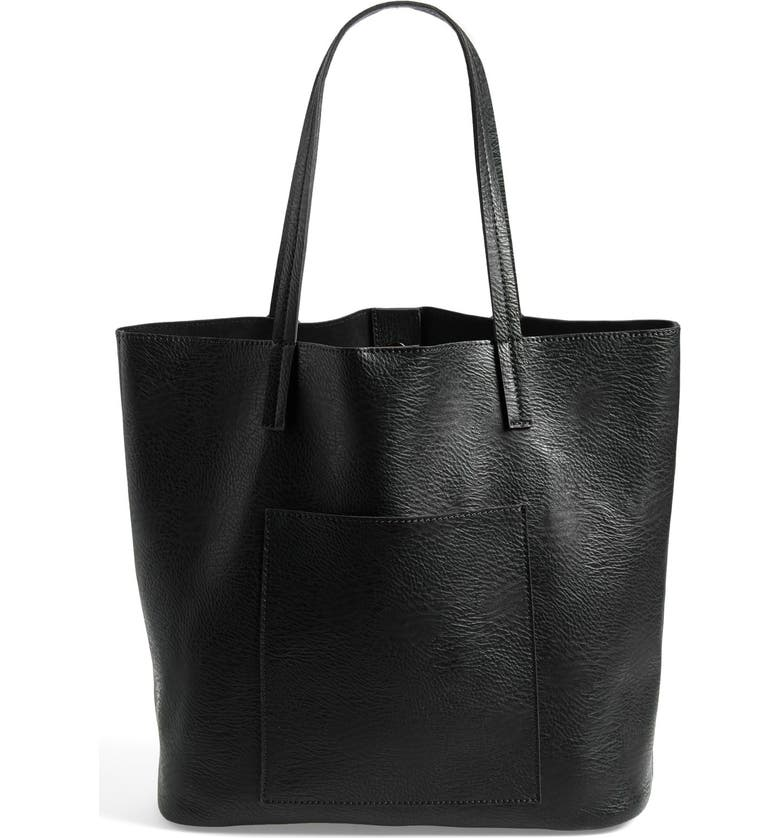 STREET LEVEL Faux Leather Pocket Tote, Main, color, 001