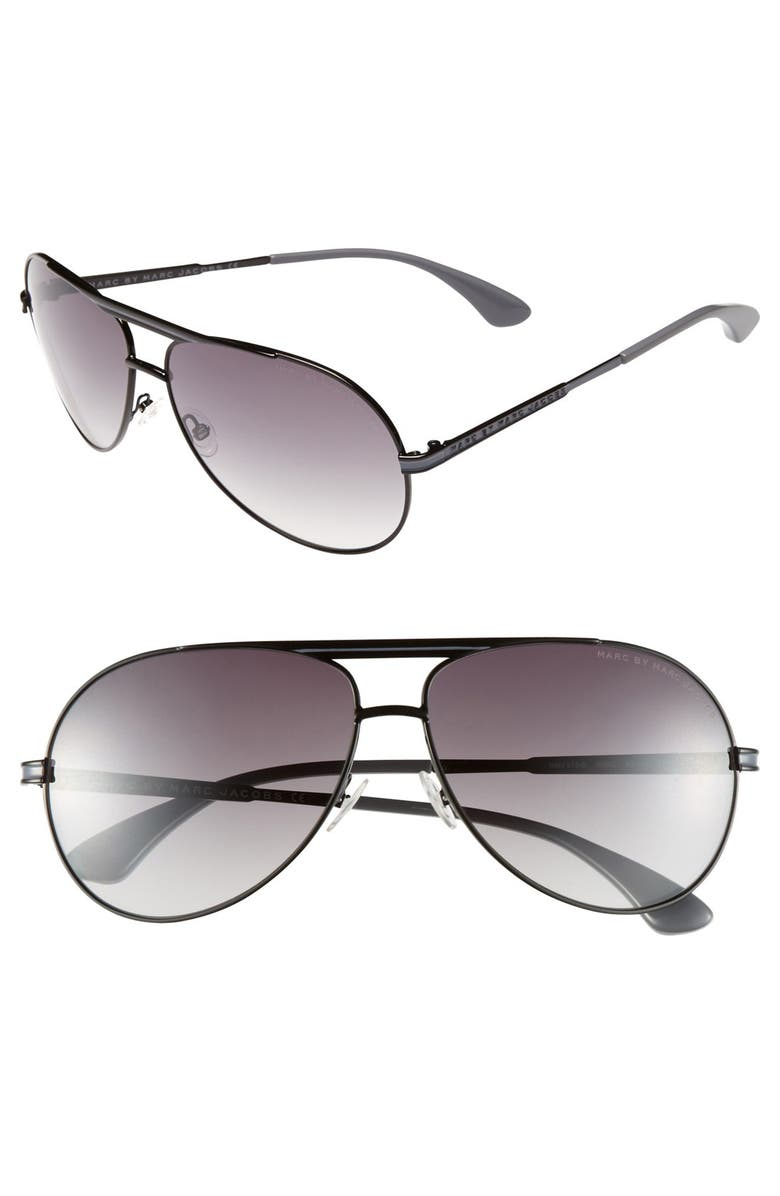 MARC BY MARC JACOBS 62mm Metal Aviator Sunglasses, Main, color, 001
