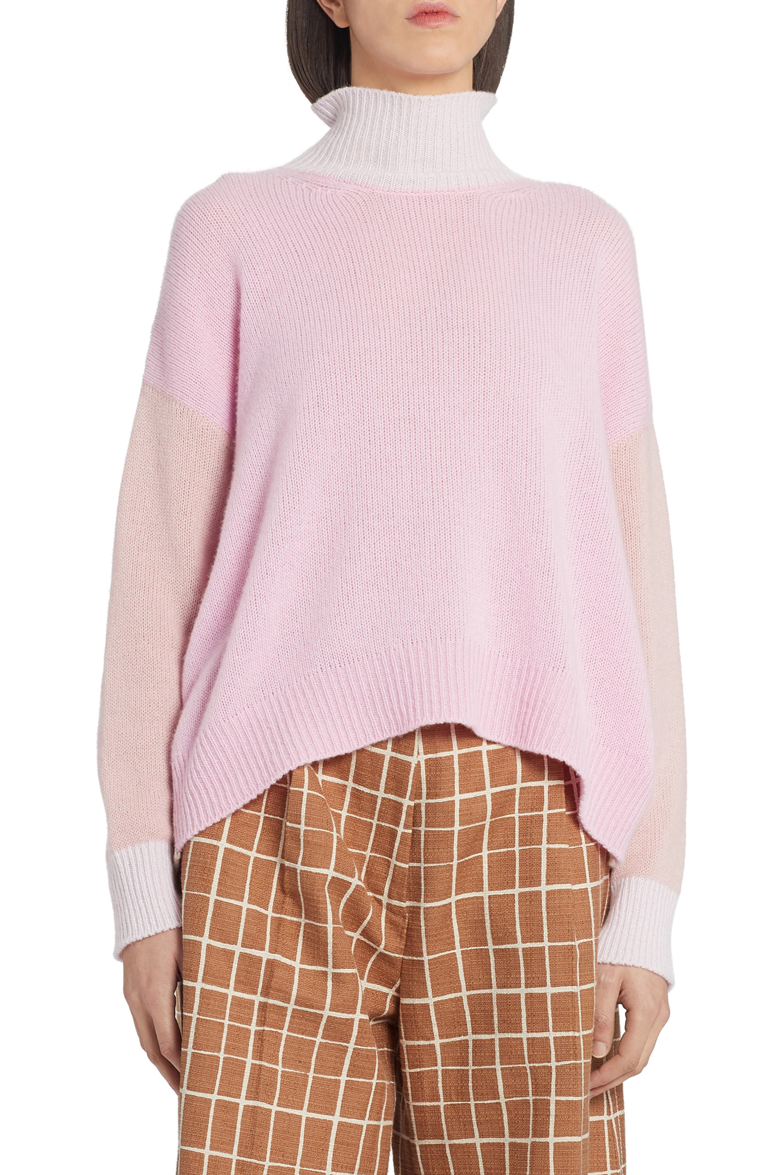 A palette of pale pinks and soft cream gives this cozy cashmere sweater the sweetest look. Style Name: Marni Colorblock Cashmere Turtleneck Sweater. Style Number: 6073140. Available in stores.