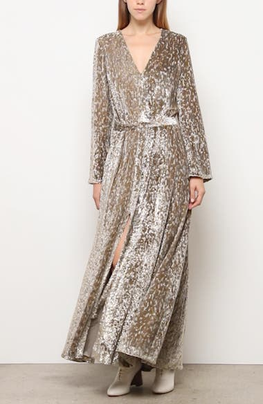 Belted Long Sleeve Metallic Velvet Gown, video thumbnail