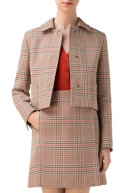 Image of Akris punto Glen Plaid Crop Gabardine Jacket