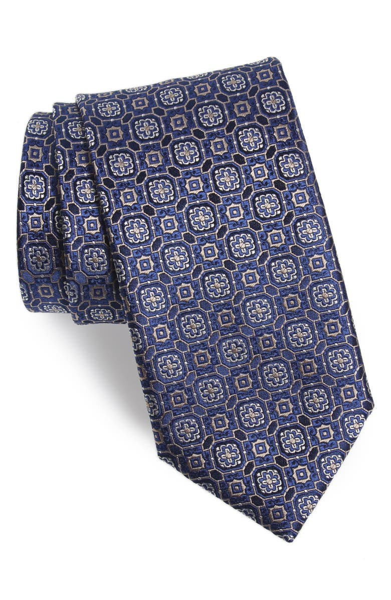 CANALI Medallion Silk Tie, Main, color, NAVY
