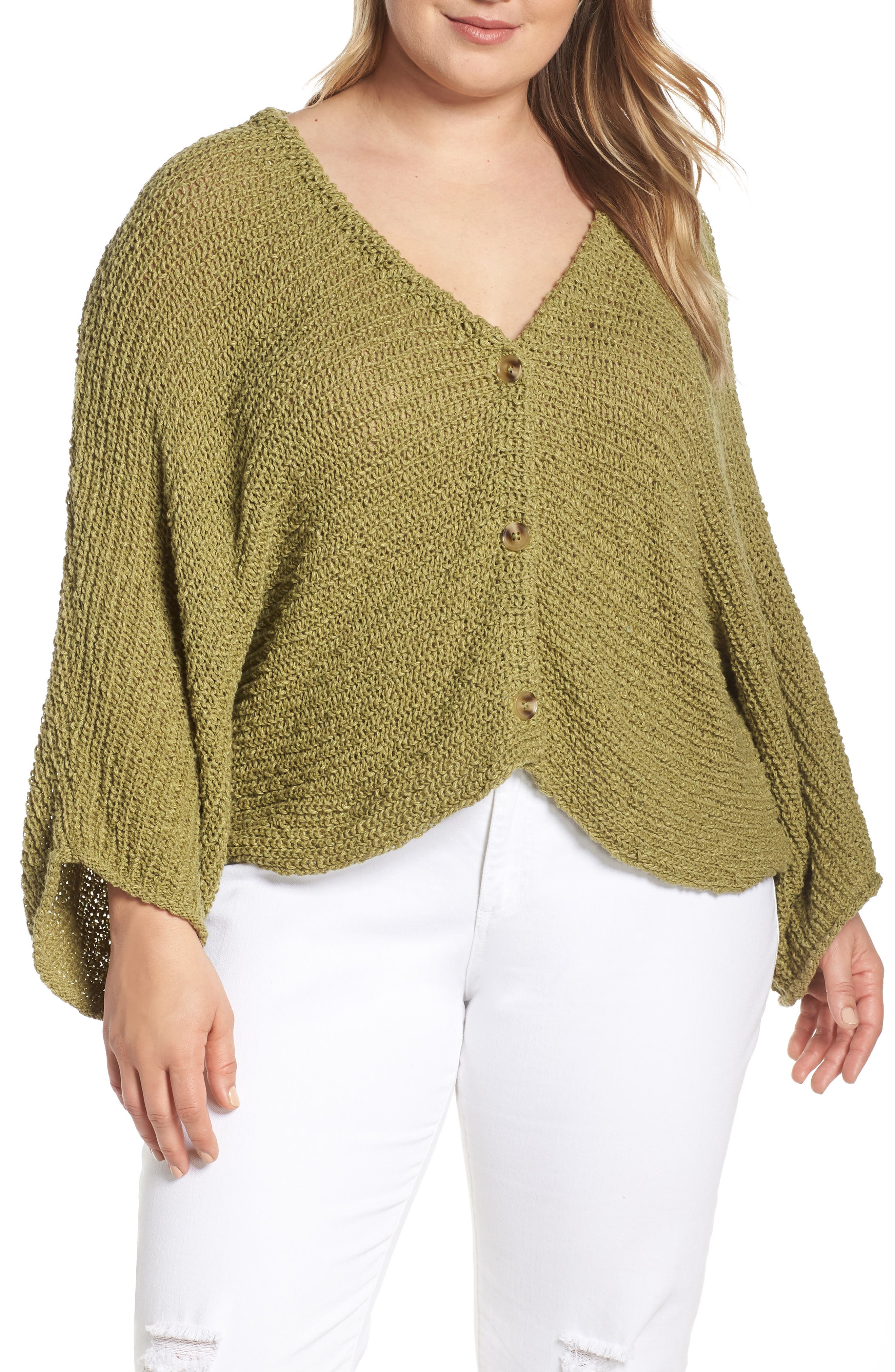 ,                             Dolman Sleeve Button Front Cardigan,                             Alternate thumbnail 3, color,                             OLIVE EMERALD