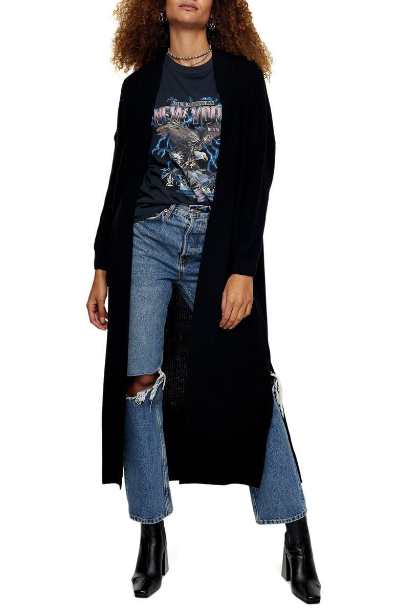 TOPSHOP Open Front Maxi Cardigan, Main, color, BLACK