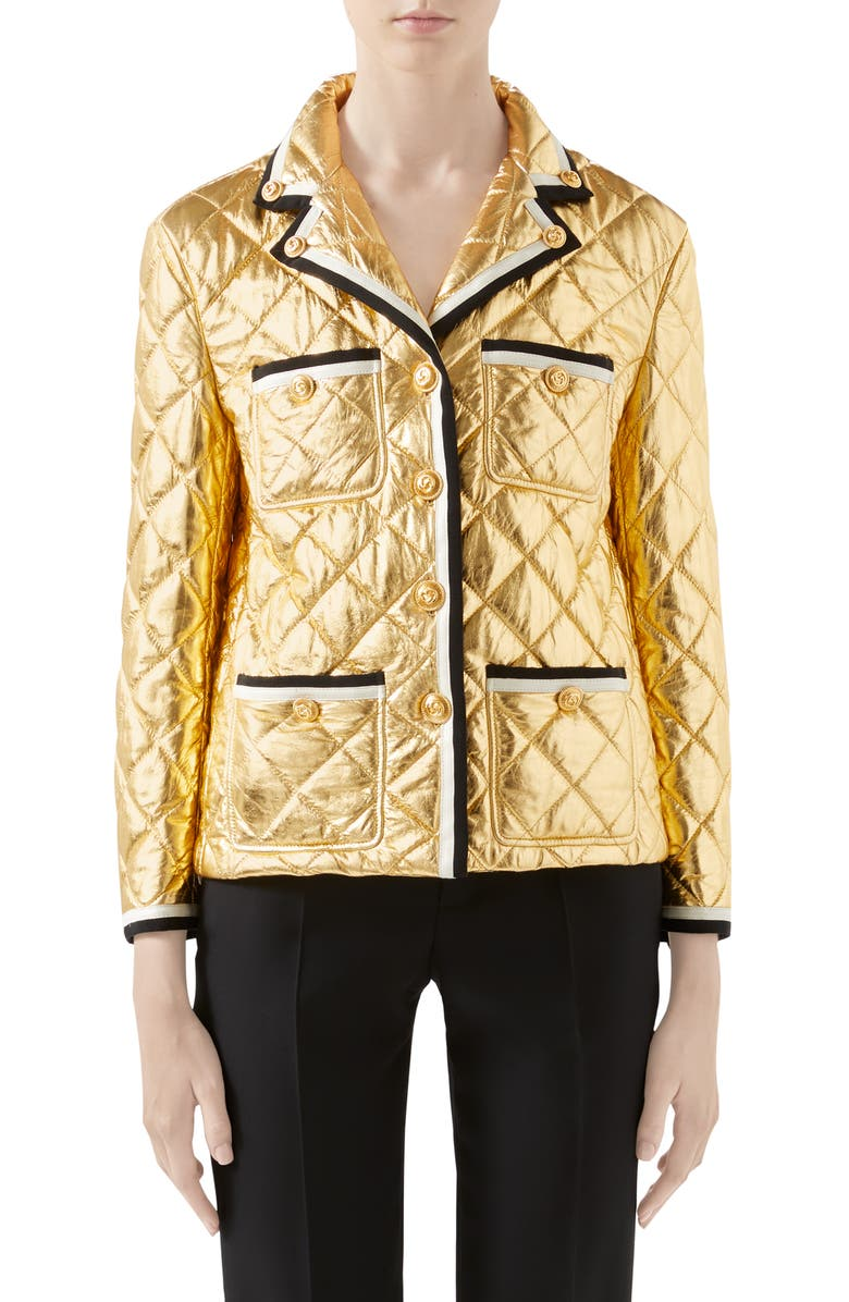 GUCCI Quilted Metallic Leather Jacket, Main, color, GOLD/ MULTICOLOR