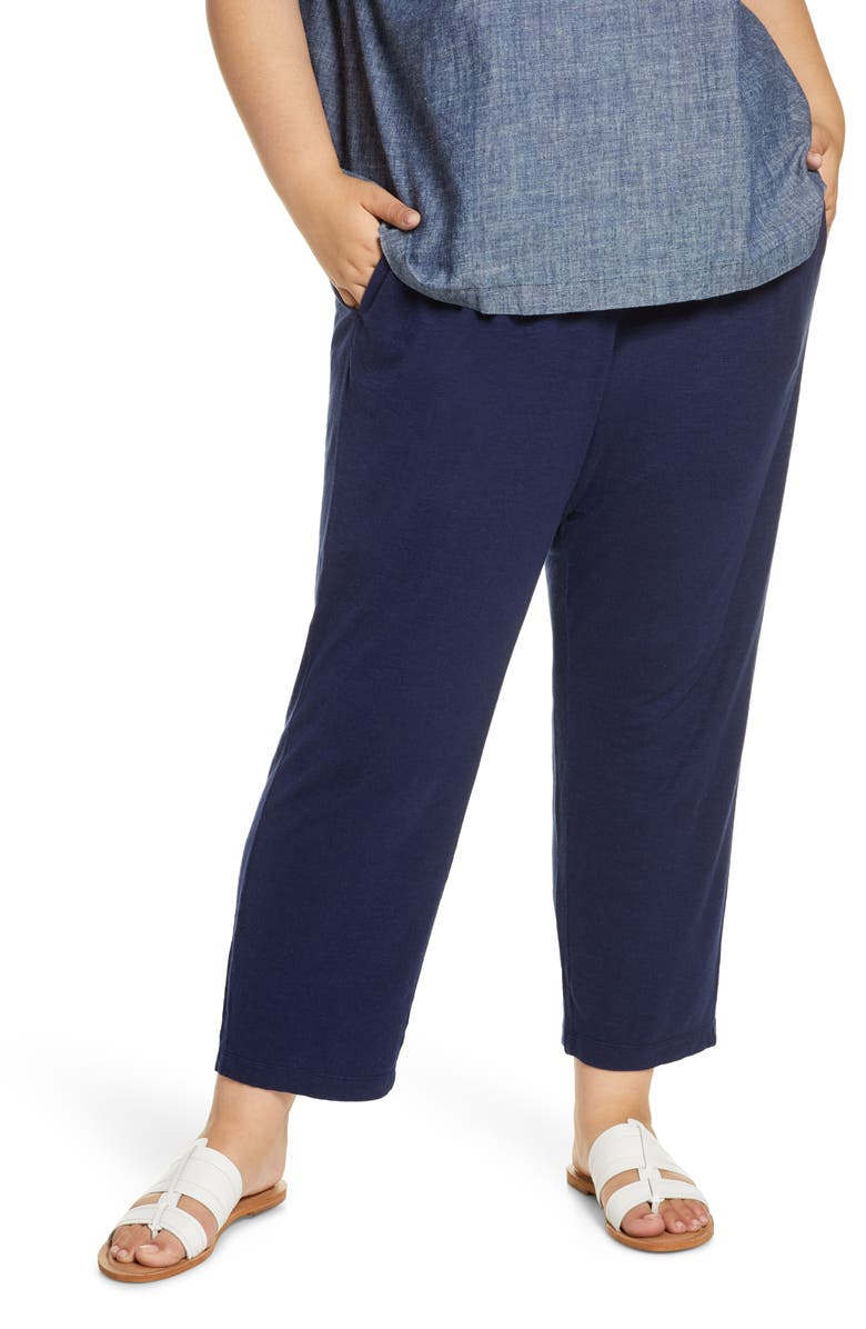 EILEEN FISHER Tapered Ankle Pants, Main, color, MIDNIGHT