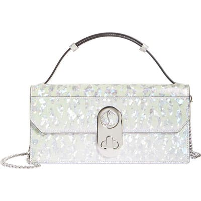Christian Louboutin Elisa Holographic Leopard Print Leather Top Handle Bag - White