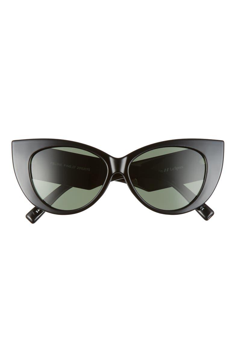 LE SPECS Feline Fine 54mm Polarized Cat Eye Sunglasses, Main, color, BLACK/ KHAKI