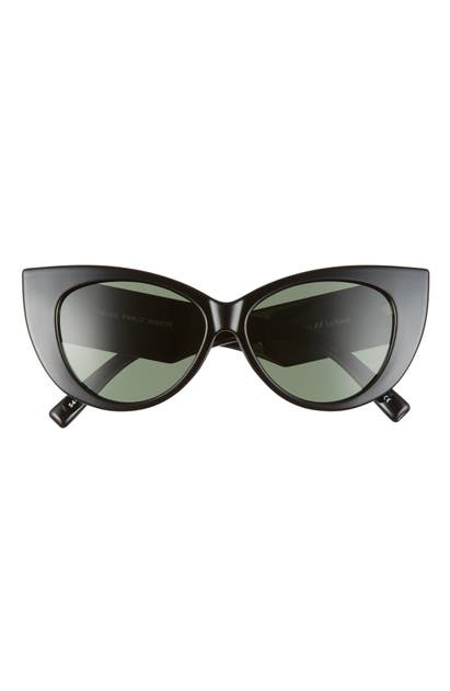 Le Specs Feline Fine 54mm Polarized Cat Eye Sunglasses In Black/ Khaki