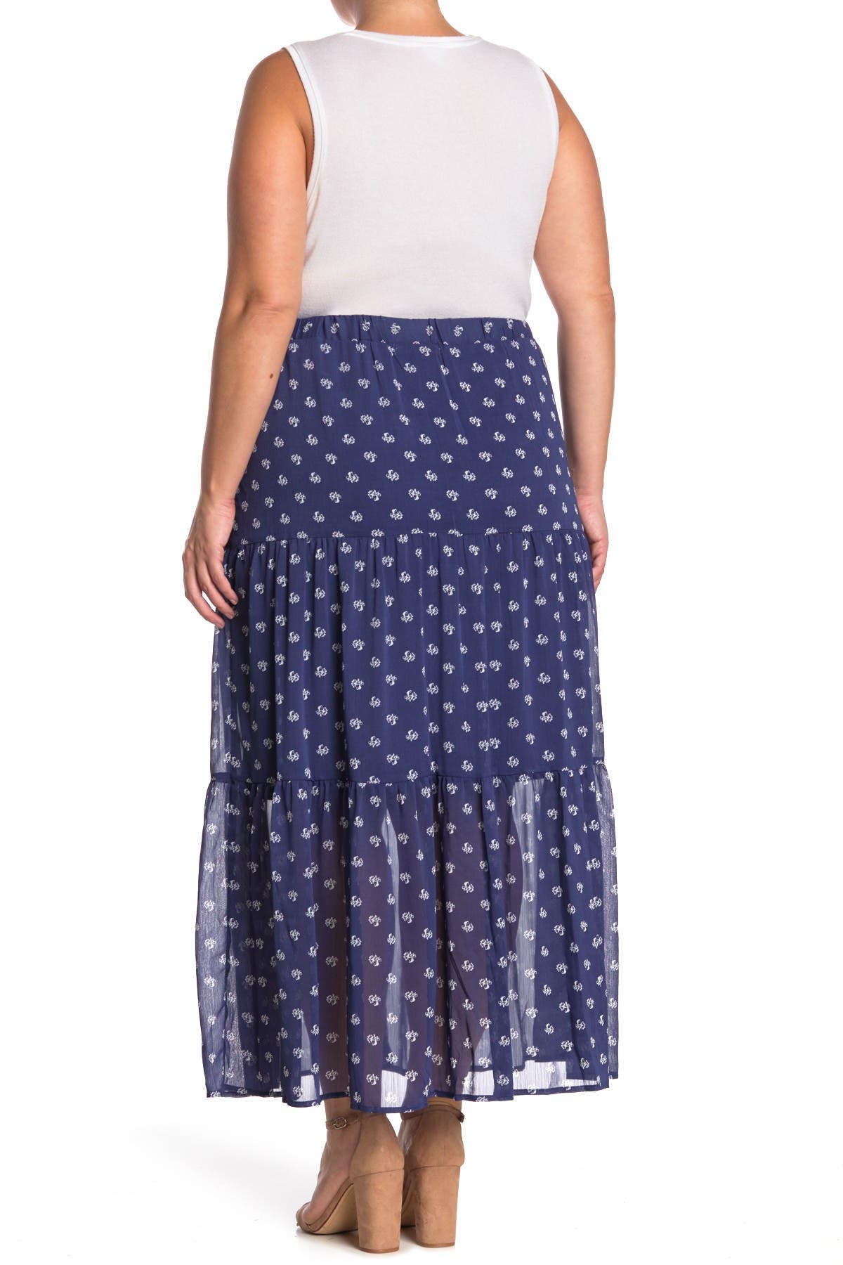Image of 14TH PLACE Printed Tiered Maxi Skirt