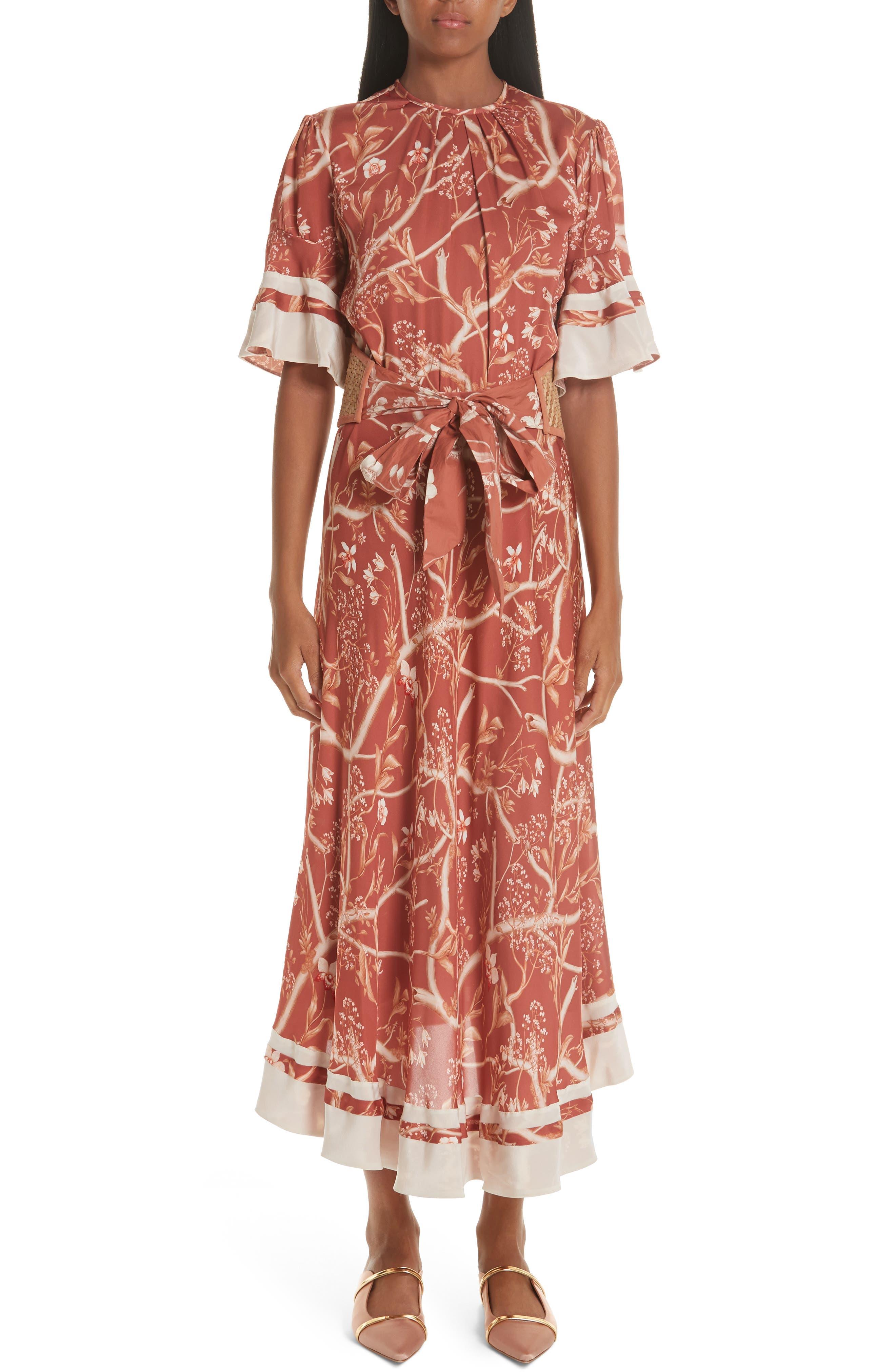 Johanna Ortiz Belted Daffodil Print Silk Dress, Red