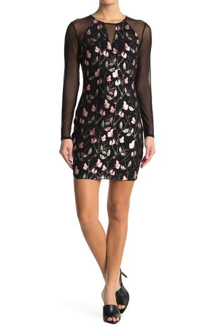 Image of GUESS Mesh Floral Print Dress