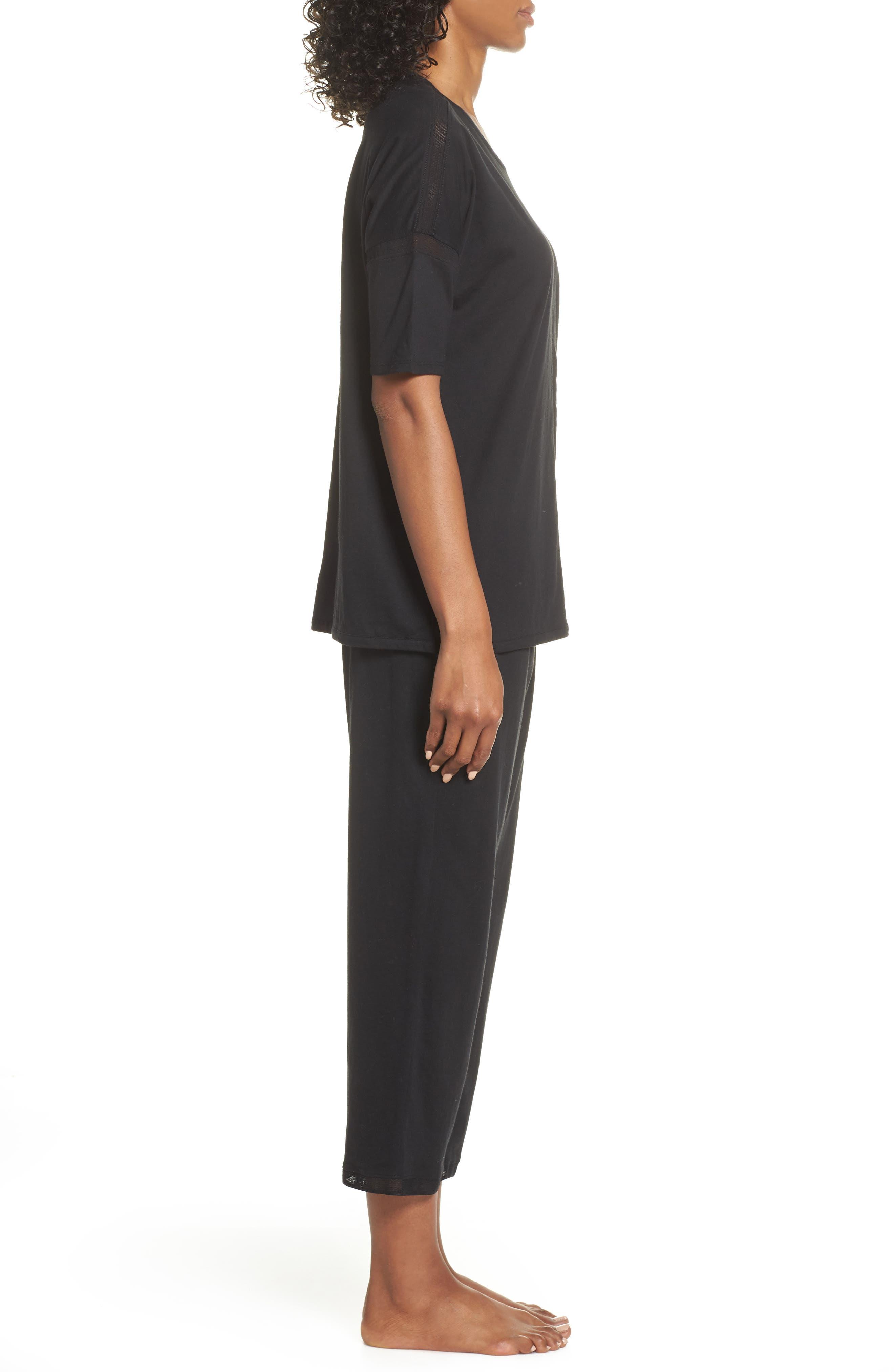 ,                             Crop Pajamas,                             Alternate thumbnail 3, color,                             BLACK