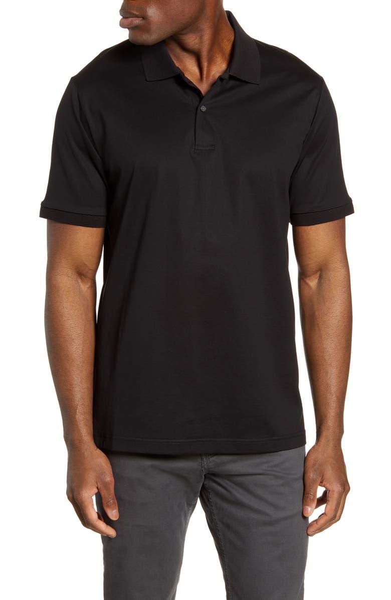 BUGATCHI Contrast Collar Back Short Sleeve Polo, Main, color, BLACK