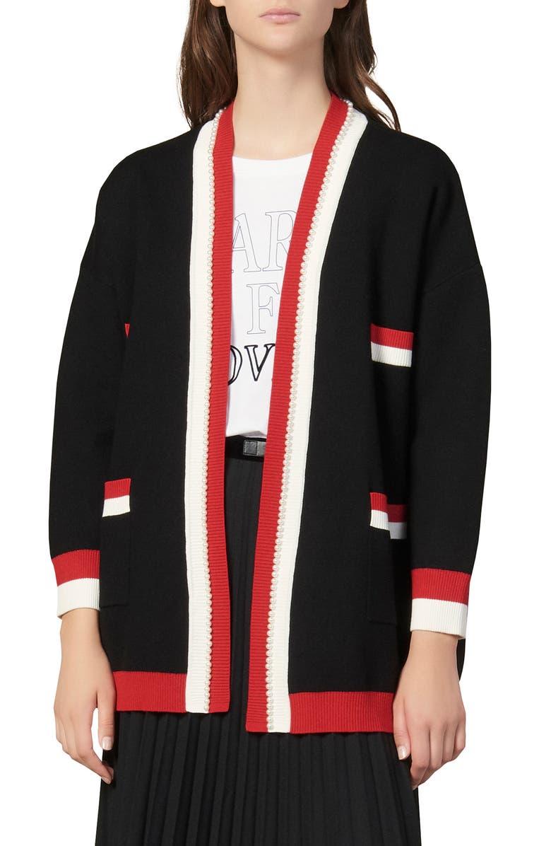 SANDRO Dave Imitation Pearl Detail Cardigan Sweater, Main, color, BLACK